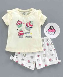 Cucumber Half Sleeves Tee & Shorts Cup Cake Print - Yellow