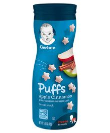 Gerber Apple Cinnamon Flavoured Cereal Puffs - 42 gm