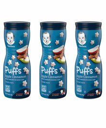 Gerber Apple Cinnamon Flavoured Cereal Puffs Pack of 3 - 42 gm Each