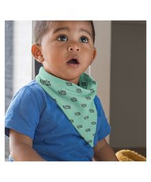 Polka Tots 100% Organic Cotton Two Layer Bandana Style Bibs Little Man Print - Green