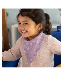 Polka Tots 100% Organic Cotton Two Layer Bandana Style Bibs Travel Print - Purple