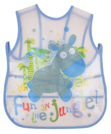 Yellow Bee Water Proof Bib Animal Print - White And Blue