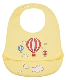 Yellow Bee Bibs With Crumb Catcher Hot Air Balloon Print - Yellow