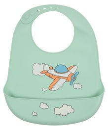 Yellow Bee Bibs With Crumb Catcher Aeroplane Print - Blue