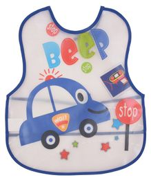 Yellow Bee Water Proof Bib Car Print - White And Blue