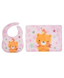 Yellow Bee Feeding Bib With Mat Bear Print - Pink