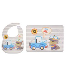 Yellow Bee Feeding Bib With Mat Car and Bear Print - Grey