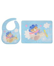 Yellow Bee Feeding Bib With Mat Flying Bear Print - Blue