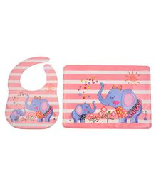 Yellow Bee Feeding Bib With Mat Elephant Print - Pink