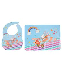 Yellow Bee Feeding Bib With Mat Flying Bunny Print - Blue