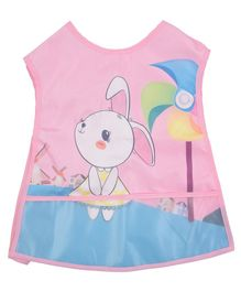 Yellow Bee Bib With Crumb Collector Bunny Print - Pink Blue