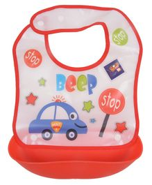 Yellow Bee Bib With Crumb Collector Car Print - White Red