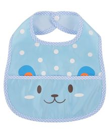 Yellow Bee Bib With Crumb Collector Animal Print - Blue