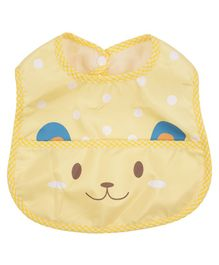 Yellow Bee Bib With Crumb Collector Animal Print - Yellow