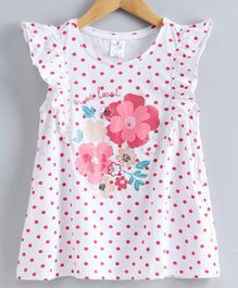 Smarty Short Sleeves Polka Dotted Frock Floral Print - White