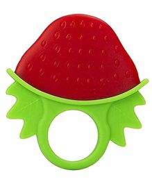 INFANTSO Non-Toxic Food-Grade Silicone Baby Strawberry Shape Teether - Red