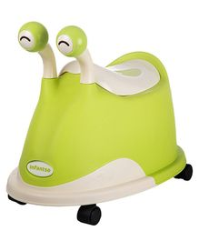 Infantso Baby Potty Seat With Lid And Wheels Snail Shaped - Green