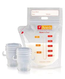 Ameda Store 'N Pour Milk 20 Storage Bags With 2 Adapter - White