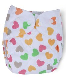 Dokkodo Cloth Diaper with Adjustable Snap Buttons Heart Print - White