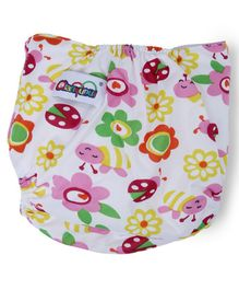Dokkodo Cloth Diaper with Adjustable Snap Buttons Floral Print - White