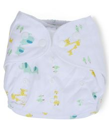 Dokkodo Cloth Diaper with Adjustable Snap Buttons Animal Print - White