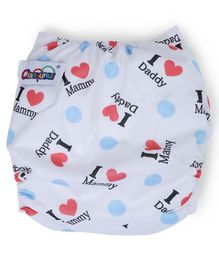 Dokkodo Cloth Diaper with Adjustable Snap Buttons Text Print - White