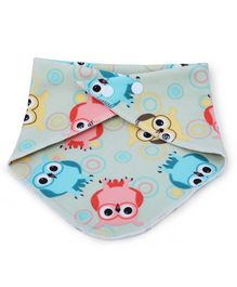 Dokkodo 100% Cotton Bandana Drool Bib Owl Print - Grey