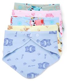 Dokkodo Bandana Style Printed Cotton Baby Bib Pack of 5 - Multicolor