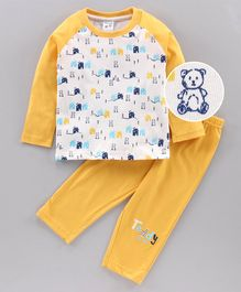Tango Full Sleeves Tee & Lounge Pant Teddy Print - Yellow