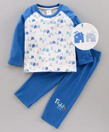 Tango Full Sleeves Tee & Lounge Pant House Print - Blue