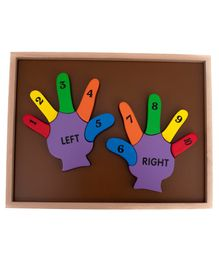 HILIFE Wooden Hand Shaped English Numbers Board Puzzles - 12 Pieces