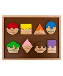 HILIFE Wooden Match The Shape Board Puzzles - 16 Pieces