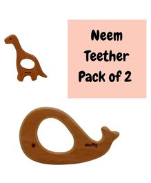Wufiy Wooden Whale & Dino Shaped Neem Teethers Glazed With Virgin Coconut Oil - Dark Brown