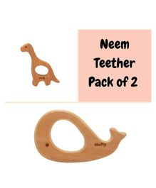 Wufiy Wooden Whale & Dino Shaped Neem Teethers Glazed With Virgin Coconut Oil - Light Brown