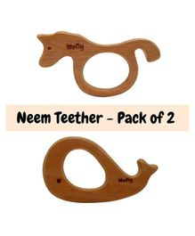 Wufiy Sea Horse & Whale Shape Neem Wooden Teether Pack of 2 - Dark Brown