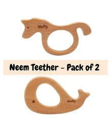 Wufiy Sea Horse & Whale Shape Neem Wooden Teether Pack of 2 - Brown