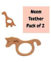 Wufiy Sea Horse & Dino Shape Neem Wooden Teether Pack of 2 - Brown