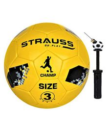 Strauss Size 3 Kids Football With Football Pump - Yellow