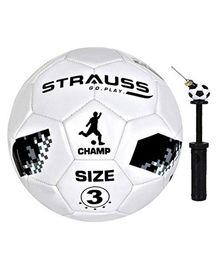 Strauss Size 3 Kids Football With Football Pump - White