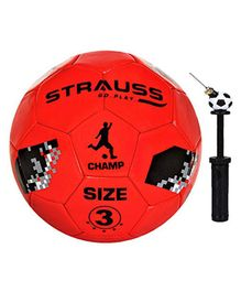 Strauss Size 3 Kids Football With Football Pump - Red