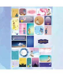 The Story Saga Aladdin Name Labels Multicolor Pack of 4 Sheets - 26 Labels Each