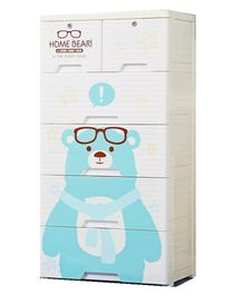 The Tickle Toe Chest of Drawers  Bear Print - Blue White