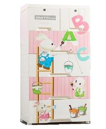 The Tickle Toe Chest of Drawers with Two Locks Bunny & Alphabet Print - White