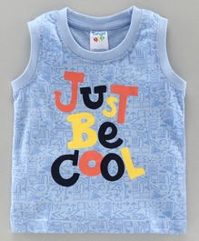 Tango Sleeveless T-Shirt Text Print - Blue