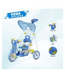 Dash Vega Deluxe Kids Tricycle With Canopy & Music - Blue