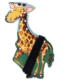 Omocha Wooden  Lacing Toy Giraffe Shaped - Multicolor