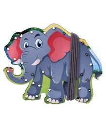 Omocha Wooden  Lacing Toy Elephant Shaped - Blue