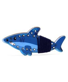 Omocha Wooden  Lacing Toy Shark Shaped - Blue