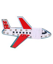 Omocha Wooden Lacing Toy  Airoplane Shaped - White