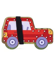 Omocha Wooden  Lacing Toy Car Shaped - Red